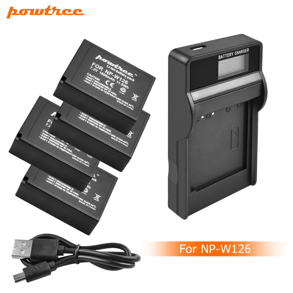 4Packs 7 2V 1600mAh Li ion NP W126 Camera Battery LCD Charger For Fujifilm FinePix HS30EXR HS33EXR X Pro1 X E1 L15 in Digital Batteries from Consumer Electronics