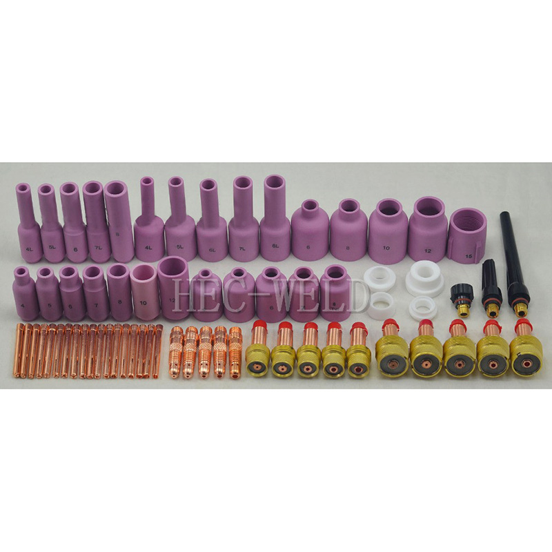 TIG Gas Lens KIT Back Cap Collet Body Fit TIG Welding Torch SR WP17 18 26 67PK wp 17f sr 17f tig welding torch complete 13feet 4meter soldering iron flexible