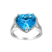 2017 Anillos Qi Xuan_Fashion Jewelry_Big Blue Stone Elegant Heart Rings_S925 Solid Silver Fashion Rings_Factory Directly Sales