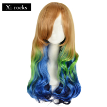 3033 Xi.rocks Wigs 26inch synthetic wigs Long Wavy Lolita Style Ombre With Bangs Cosplay Harajuku Wig Multiple color long fluffy wavy oblique bang synthetic lolita wig