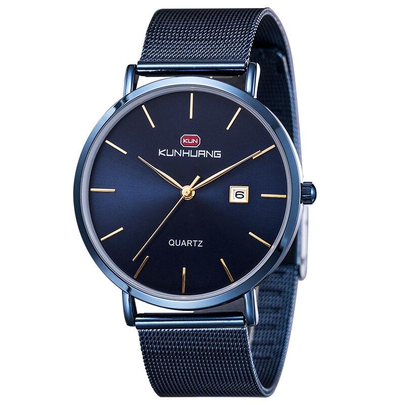 1004Kunhuang new fashion waterproof watch ultra-thin mesh quartz for men relogio masculino