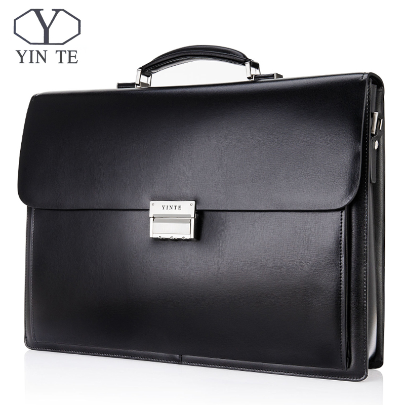 YINTE Men's Leather Briefcase 15Laptop Handbag Formal Business Lawyer Bag Messenger Shoulder Attache Portfolio Totes T8158-6A teemzone top men genuine leather vintage formal business lawyer briefcase messenger shoulder attache portfolio tote brown t0581