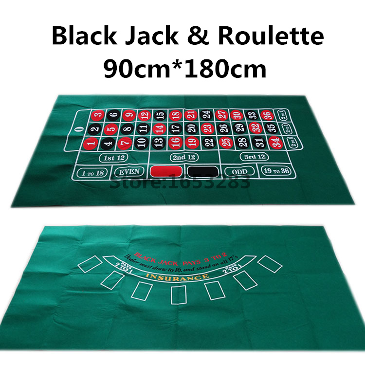 One Zero Top Quality Green color Black Jackroulette gaming tablecloth; double side 90cm180cm Thicknen Material