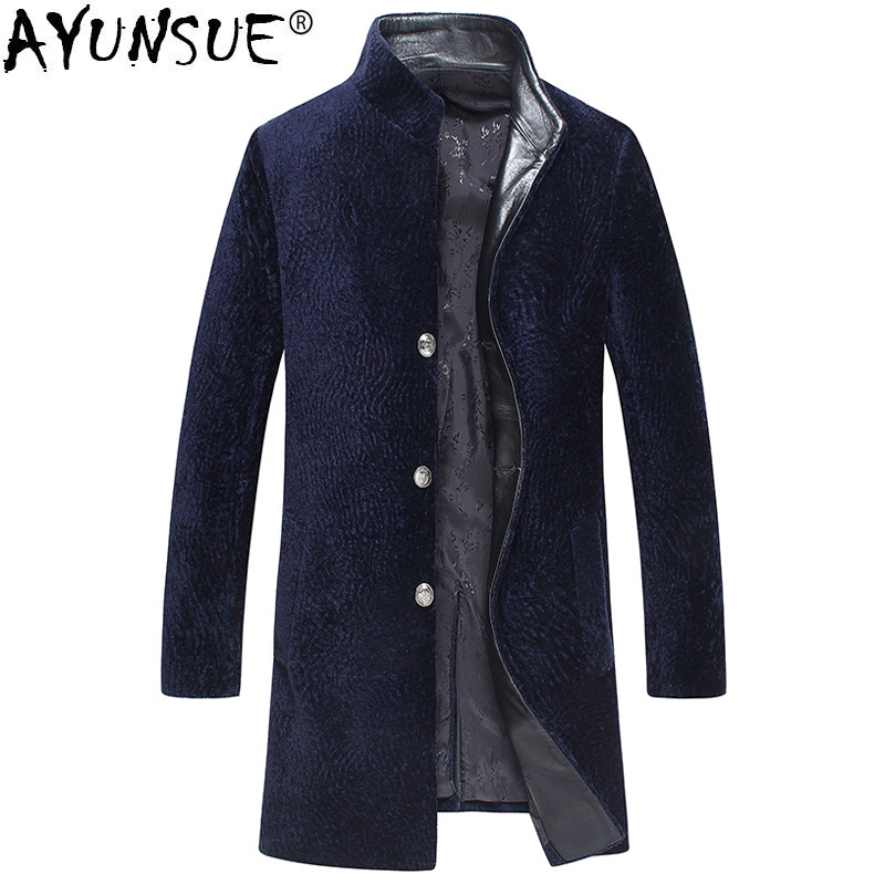 AYUNSUE Real Fur Coat Autumn Winter Jacket Men Sheep Shearling Fur Coats Plus Size Mens Jackets And Coat LSY069092 MY1377