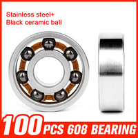 100pcs 608 Stainless Steel Bearing Black Ceramic Ball For High Speed Roller Skating Fidget Spinner Toy