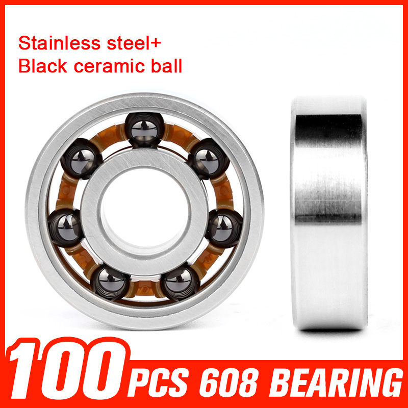 100pcs 608 Stainless Steel Bearing  Black Ceramic Ball for High Speed Roller Skating Fidget Spinner Toy Hardware Accessories 150pcs 608 bearings black ceramic ball 608 stainless steel bearing for high speed fidget spinner skating roller toy accessories