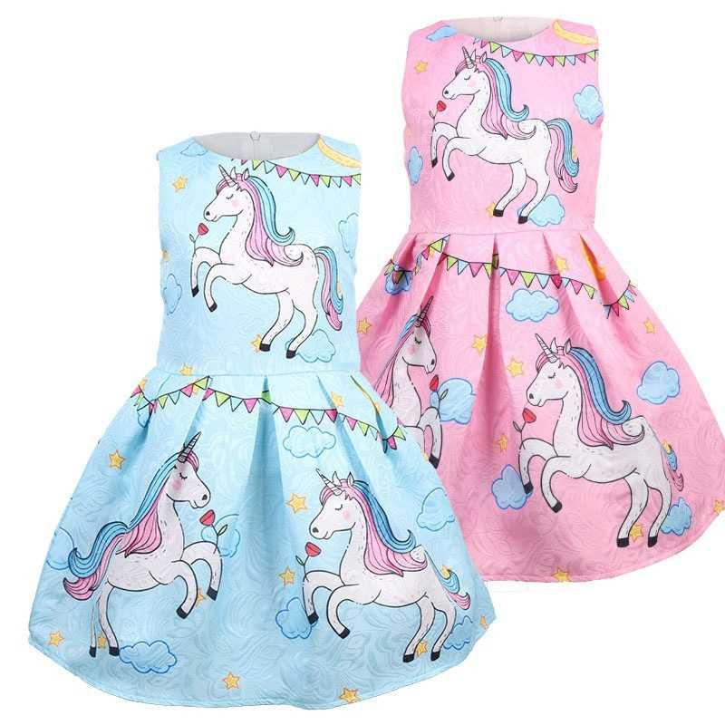 Giáng sinh Đầm Bé Gái Dự Tiệc Mùa Hè Kid Modem Quần Áo Infantil Unicornio Áo Dây Noel Thanh Lịch Đầm Vestido De Festa Princesa Trang Phục Longo
