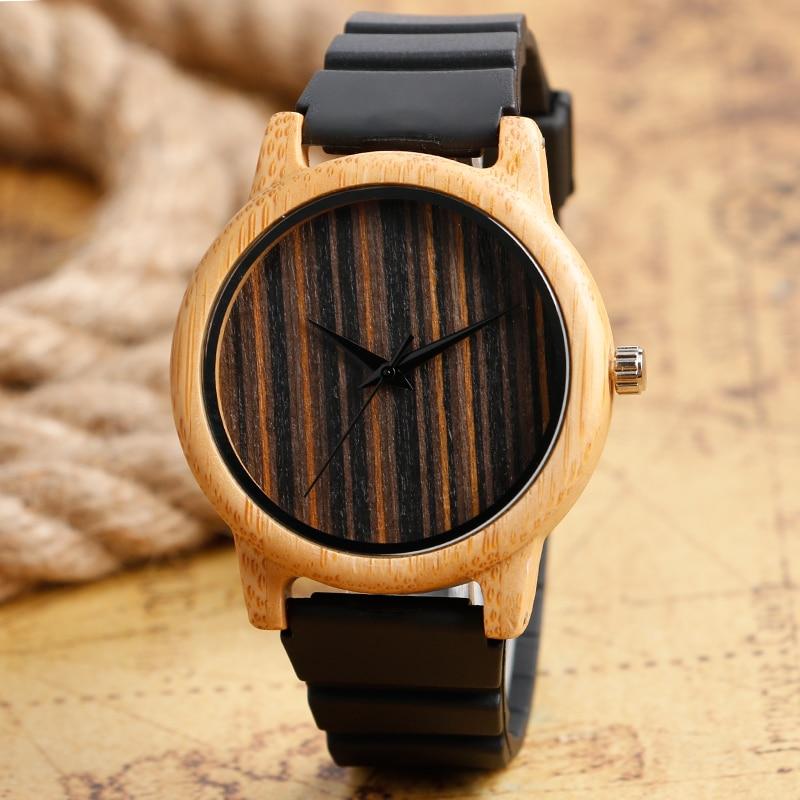 Unique Wristwatches Casual Natural Wooden Bamboo Quartz-watch Silicone Band Men Women Wrist Watch Montre Femme Relogio Masculino