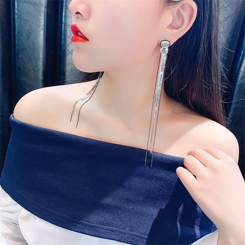 Fyuan longo borla gota brincos para as mulheres grande cristal balançar brinco casamentos moda jóias presentes