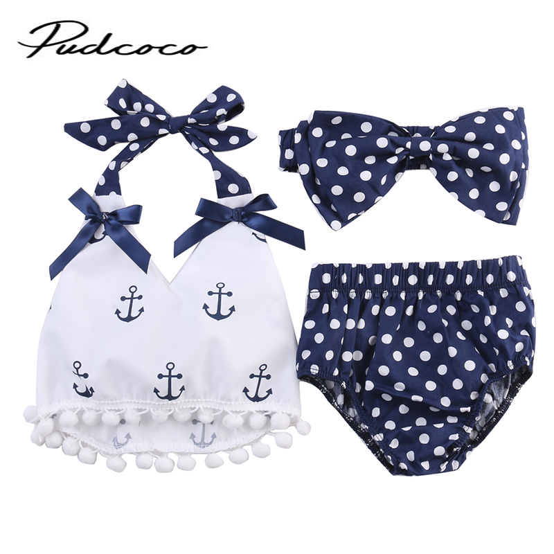 2018  Rompers Clothes Sets Anchors Bow Top+Polka Dot Briefs+Head band 3pcs Sleeveless Outfits Set Summer Fashion Baby Girls(China)