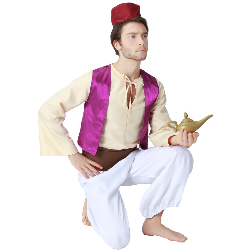 Movie Aladdin Prince Cosplay Costume Aladdin Adults Costume Outfit Halloween Cos Dress for Men Performance Aladin Cosplay