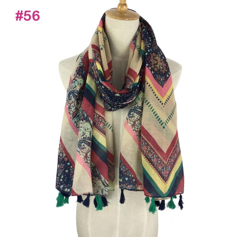 More than 160 colors Spring Summer fashion chevron tribal neon color tassel shawl scarf wrap