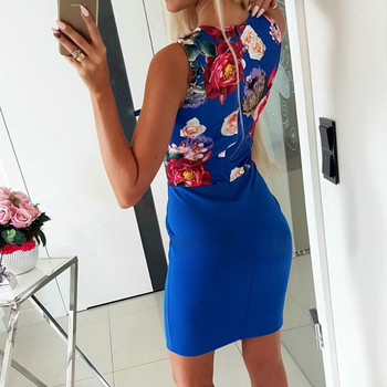 White Low Cut V Neck Floral Print Women Vestidos Blue Bodycon Dress Summer 2019 Mini Package Hips Dresses Sexy Office Dress Lady 3