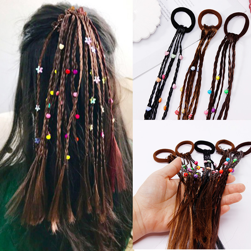 2018 New Fashion Flower Ball Heart Wigs Rubber Bands For Girls Lovely Hair Ornament   Headwear   Cute Rubber Bands Hair Accessories