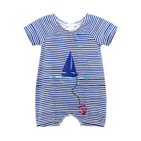 2016 Newest Baby Sailor Rompers Summer Baby Girl Clothing Sets Short Sleeve Jumpsuit Newborn Baby Boy