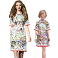 Mother Daughter Dresses Princess 2016 Autumn Brand Girls Dresses Family Matching Clothes Kids Sicilian Floral Print Women Dress