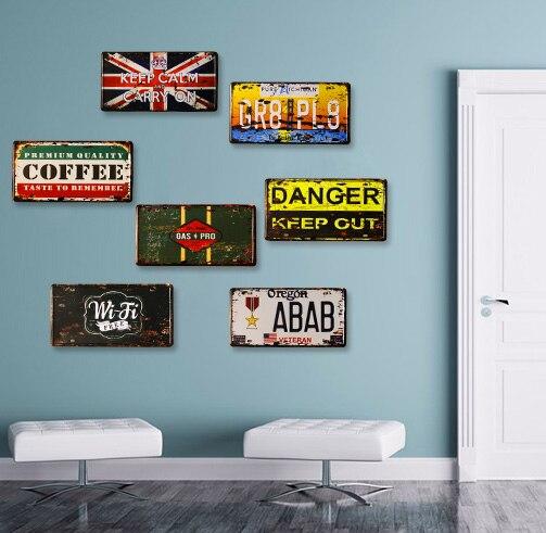 COOL   TOP WALL ART  7 Pieces HOME Office BAR RETRO Plate Art