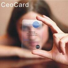 Impressão de cartão de visita transparente plástico do rosto do design livre