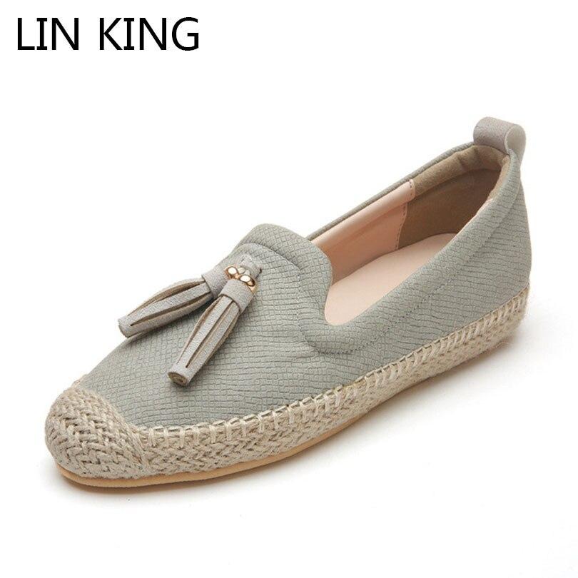 LIN KING Fashion Straw Women Loafers Fringe Shallow Casual Shoes Slip On Lazy Single Shoes Female Light Sneakers Sapato Feminino цены онлайн