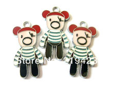 100pcs 29x15mm Brand New Bear Hang Pendant Charm Fit key Chain Phone Strips Necklace(China)
