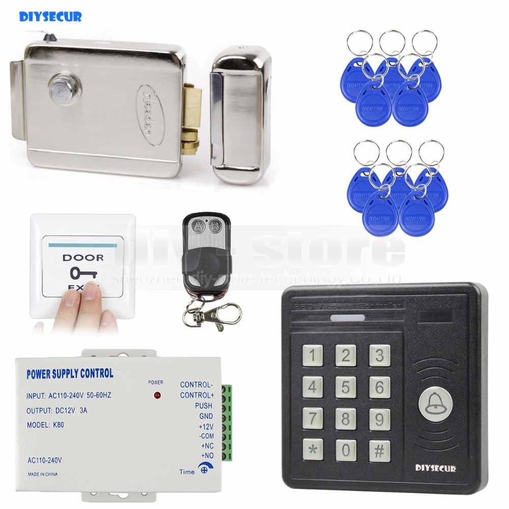 DIYSECUR Waterproof Remote Control 125KHz Rfid Card Reader Access Control Electronic Lock Door Access Control Security Kit diysecur magnetic lock door lock 125khz rfid password keypad access control system security kit for home office