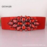 Red Gem Crystal Elastic Belts For Women Fashion 6CM Coat Dress Belts Luxury Rhinestone Girls Elastic