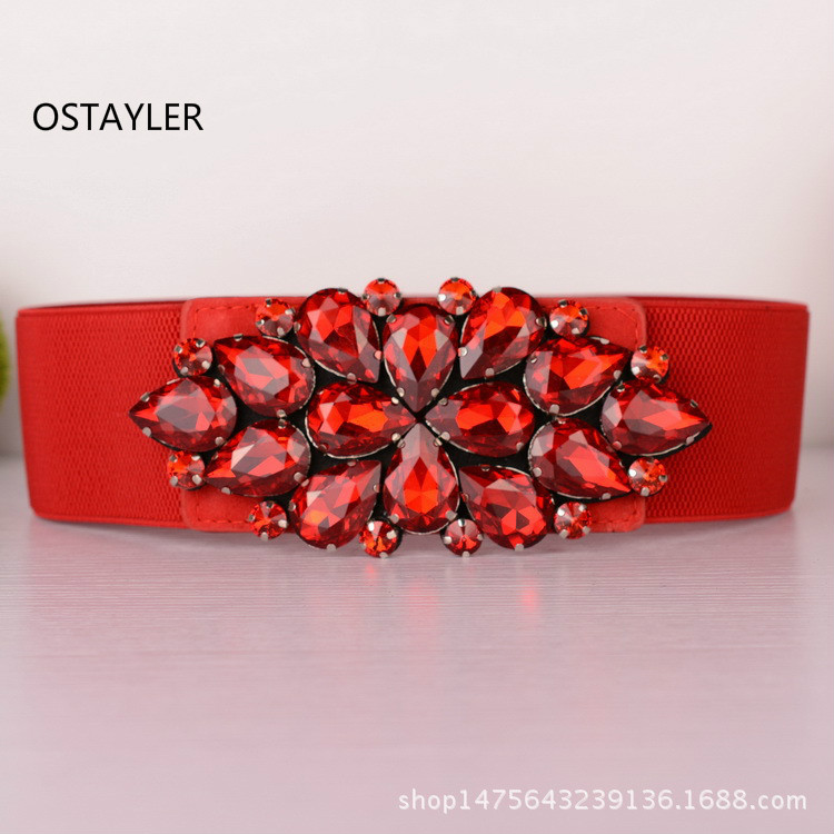 Red Gem Crystal  Elastic Belts For Women Fashion 6CM Coat Dress Belts Luxury Rhinestone Girls Elastic Waistband Corset