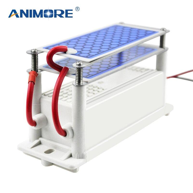 ANIMORE Générateur D'ozone 220 v/110 v 10g Double Intégré En Céramique Plaque D'ozone Air Ozoneur Pour Ménage Air eau Air Purificateur