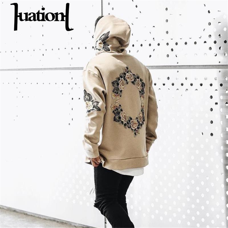 Huation 2018 Trainingsanzug Männer Weiß Mit Kapuze Hoodies Herren Streetwear Sweatshirt Hip Hop Stickerei Pullover Fleece Hoodie moleton