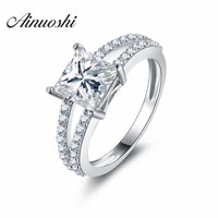AINUOSHI 925 Sterling Silver 4 Prongs Women Wedding Rings Sona 7mm Princess Cut Engagement Anniversary Rings Anillos de plata