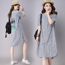 #0118 Summer Dress Ladies Casual Striped Split Short Sleeve O-Neck Cotton And Linen Straight Long Dresses Woman With Pockets