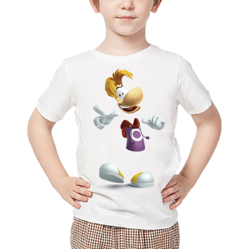 Boys Cartoon Rayman Legends Adventures Game Print T Shirt Baby Girls Summer 2019 White Tops Casual Funny Kids T-shirt,HKP5204