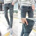 2016 hombres negro gris jeans ajustados pantalones Elásticos pies