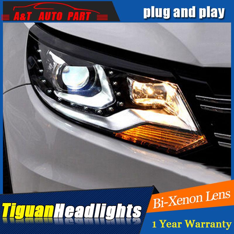 AU.PRO For VW Tiguan headlights 2013-2015 For VW Tiguan  bi xenon lens h7 xenon car styling car rear trunk security shield cargo cover for volkswagen vw tiguan 2016 2017 2018 high qualit black beige auto accessories