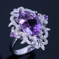 HELON 9.5x13.5mm Oval 4.54ct 100% Genuine Amethyst Diamonds Ring Solid 10k White gold Engagement Women's Special Flowers Ring
