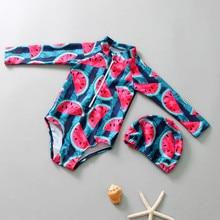 Одежда для детей; малышей; девочек с длинным рукавом с принтом «фрукты» пляжные купальники шапка комплект одежды Bebek костюм Mayo Da Bagno Ragazza 19MAY19 P35
