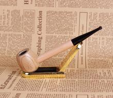 Light Color Smoking Pipe 15cm Tobacco Pipe 9mm Filter Ebony Wood Pipe Portable Round Style Smoke Smoking Cigar Wooden Pipe