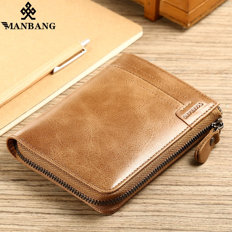 ManBang 2018 New Genuine Leather Men Wallet Small Vintage Zipper&Hasp Male Short Men Wallets Coin Purse Brand More Styles 2017 new wallet small coin purse short men wallets genuine leather men purse wallet brand purse vintage men leather wallet page 2