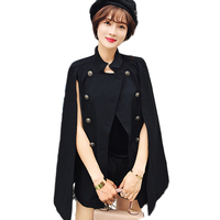 2017 Korean Fashion Double Breasted Blazer Women Jacket Elegant Wear To Work Ladies Office Cape Blazer Femme E0470