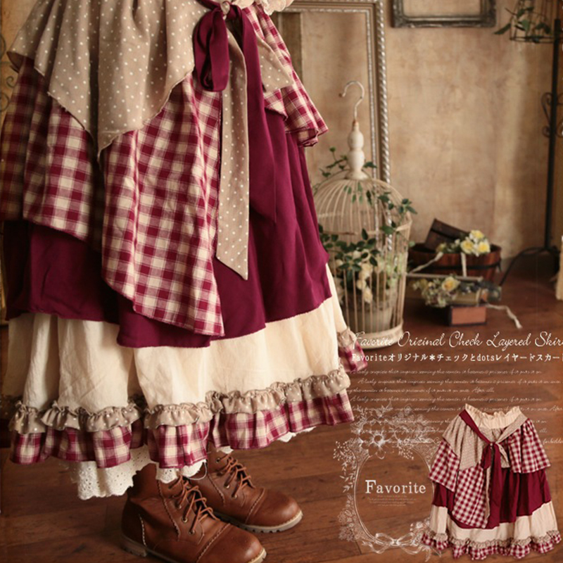 Spring Mori Girl Sweet Skirt Women Multi Layer Patchwork Lace Vintage Plaid Lovely Cotton Lolita Female