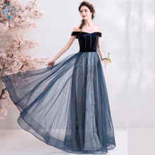 Ameision 2019 New arrival party dress evening sexy lace velour A-line belt prom gown navy new style