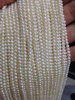 fine lots 20 strands small 3mm near round real freshwater pearl strings