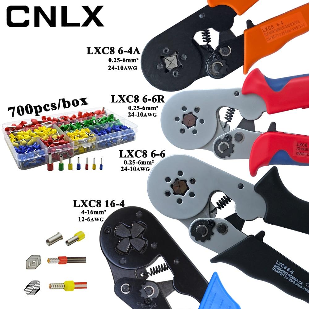 LXC8 10S 0.25-10mm2 23-7AWG LXC8 6-4/6-6 0.25-6mm2 LXC8 16-4 Crimping Pliers Electric Tube Terminals Box Mini Brand Clamp Tools