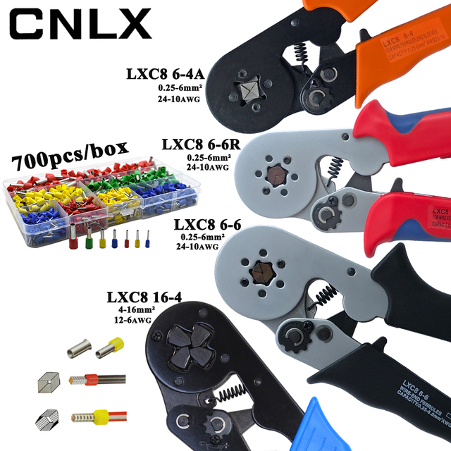 LXC8 10S 0.25 10mm2 23 7AWG LXC8 6 4/6 6 0.25 6mm2 LXC8 16 4 crimping pliers electric tube terminals box mini brand clamp tools