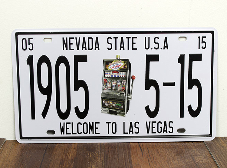 UA-XZ-C33 Free shipping car number  1905-5-15 LAS VEGAS  Vintage matal tin signs bar wall art craft home decor plates 30*15 CM