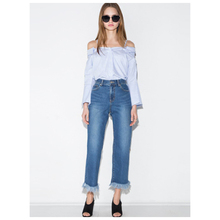 hot sale-Women's Fashion Sexy Off Shoulder Striped Strap Blouse Shirts Overalls Casual Flare Sleeve Button Tops Tees(Light Blu