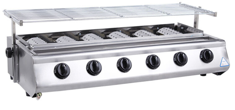 Freeshipping BBQ grill Roster Radiant Charbroiler 6 burners for outdoor stainless steel commercial Gas barbecue grill