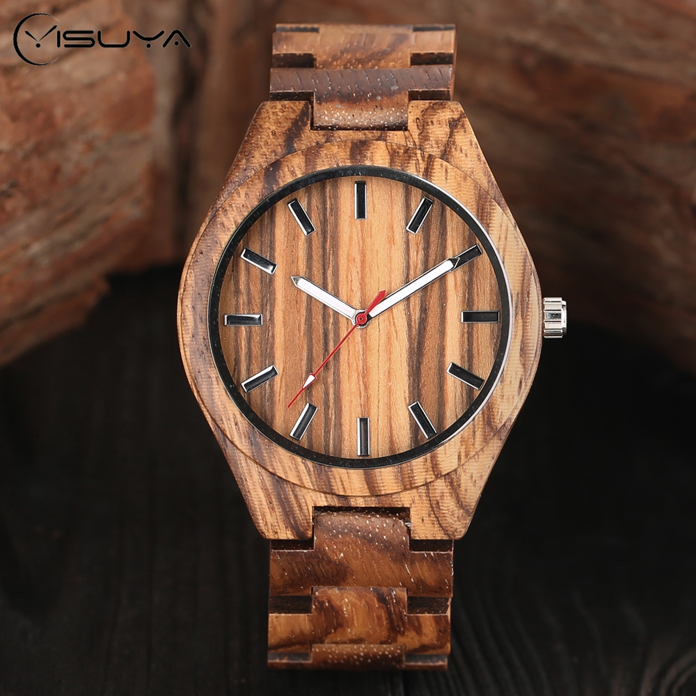 Full Stripe Bamboo Wooden Men Wrist Watch Nature Wood Band Fold Clasp Quartz Males Watches Handmade Creative Timber Watch yisuya classic nature full wood watch men casual sport wooden bamboo handmade creative watches women analog clock handmade gift