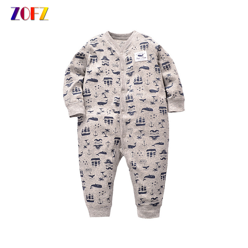 ZOFZ Cute Baby Rompers for boys O-Neck Cotton Baby Clothes Good Quaility Print Baby Clothing for babies one piece bebes romper mother nest 3sets lot wholesale autumn toddle girl long sleeve baby clothing one piece boys baby pajamas infant clothes rompers