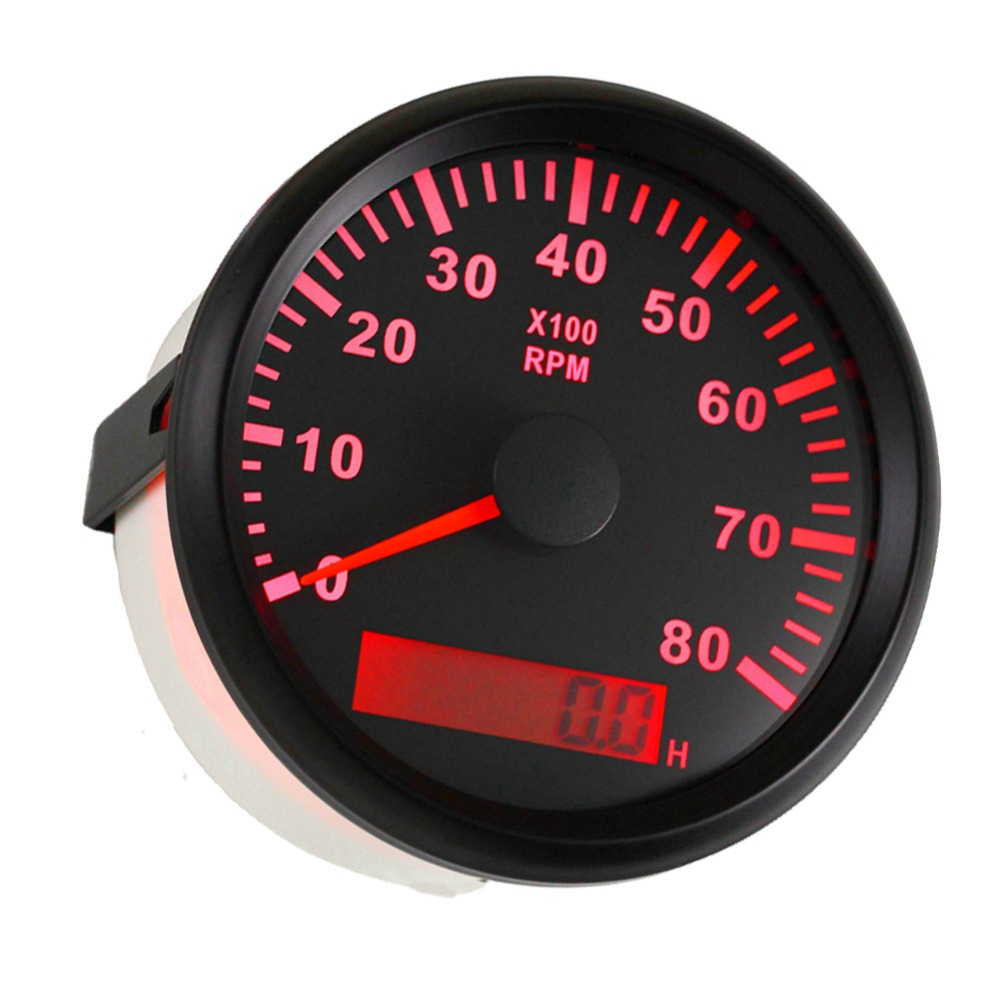 Pack of 1 85mm Marine Tachometer Gauges with Hour Meters 0-8000RPM Rev  Counters LCD Revolution Meter Red Backlight for Auto Boat